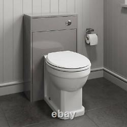 500mm Bathroom Toilet BTW Furniture Unit Pan Back To Wall WC Grey Traditional