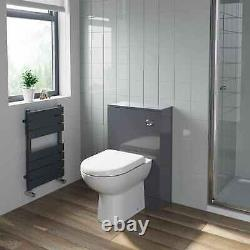 500mm Bathroom Toilet Back To Wall Furniture Unit Pan Soft Close Seat Gloss Grey
