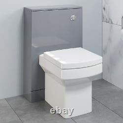 500mm Bathroom Toilet Concealed Cistern Furniture Unit Pan Soft Close Grey Gloss
