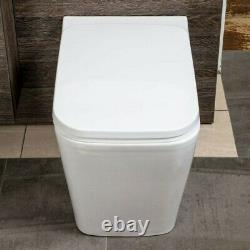 BTW Back To Wall Pan Square Toilet WC Modern Quick Release Soft Close Seat White