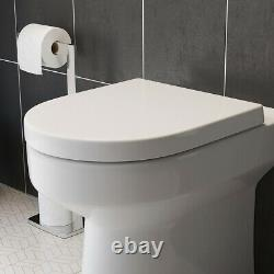 BTW Back To Wall Toilet Pan Round Modern Top Mounted Soft Close Seat White