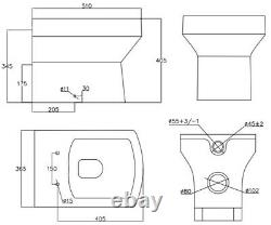 BTW Back to Wall Toilet Bathroom Modern Pan Square Cloakroom Soft Close Seat NDT