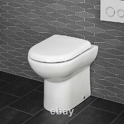 Back To Wall BTW Toilet Pan Soft Close Seat WC Round Modern Top Mount White