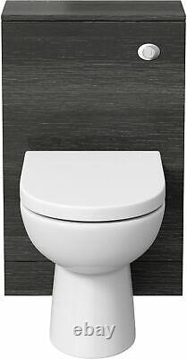Bathroom Toilet Concealed Cistern Unit Pan Soft Close Seat Charcoal Grey 500mm