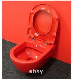 Creavit Red Wall Hung Mounted Toilet Pan wc soft seat Made in Turkey