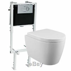 Designer Bathroom RIMLESS Wall Hung WC Pan Toilet Seat Concealed Cistern Frame