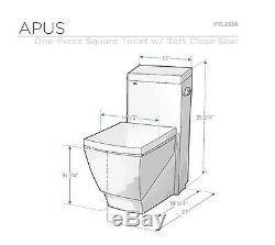 Fresca FTL2336 Apus One-Piece Square Toilet with Soft Close Seat Stain Resistant