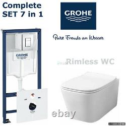 Grohe Rapid Sl Frame 5in1 + Rimless Wc Toilet Pan + Quality Soft Closing Seat