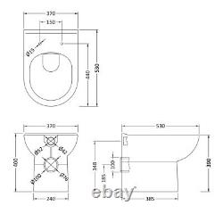 Modern Bathroom Toilet Concealed Cistern Unit 500mm WC White Soft Close Seat