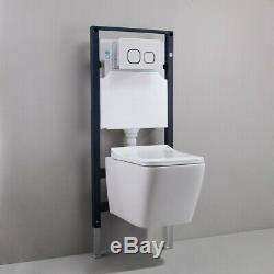 Modern Elongated Dual Flush Wall Hung Toilet with Tank & Carrier System in White