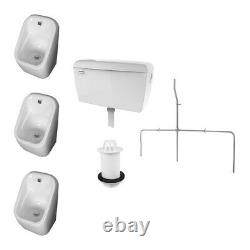 RAK Exposed Series 600 Urinal Pack 3 Urinal Bowls with flushing Auto cistern