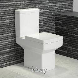Square Modern Close Coupled Toilet Pan WC Cistern Wrapover soft close seat
