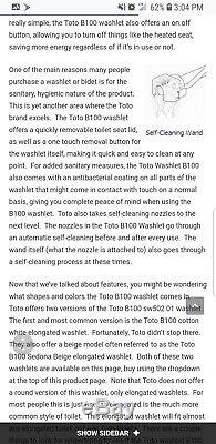 TOTO Washlet B100 Self Cleaning Bidet White Brand New in Packaging
