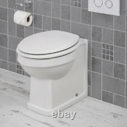 Traditional Bathroom Back to Wall Toilet WC Pan Soft Close Ceramic Gloss White