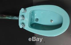 Vintage Turquoise American Standard Bidet Toilet Companion with Chrome Faucets
