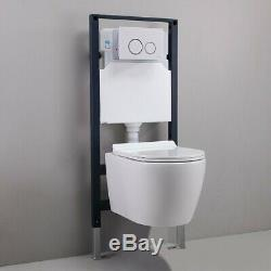 Wall Mounted Dual Flush Elongated Toilet Carrier System&Tank Bowl Combo in White