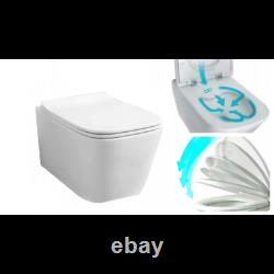 Wc Frame + Cistern + Flush Plate + Wall Hung Rimless Toilet + Soft Closing Seat