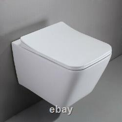 White One-Piece 1.1/1.6 GPF Dual Flush Square Wall Hung Elongated Toilet Bowl