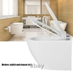 White Wall Mounted Dual Flush Elongated Bathroom Toilet with White Seat System NEW
